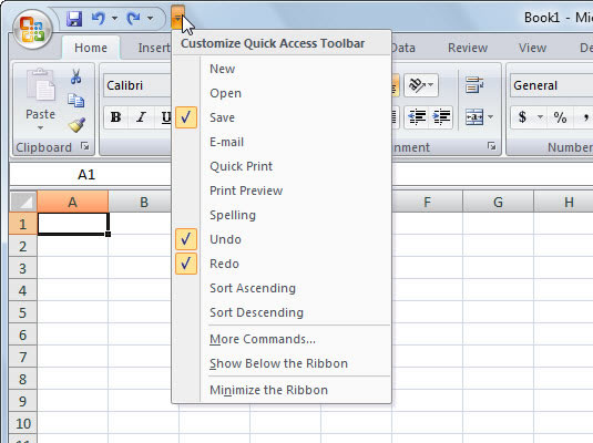 Use this menu to add common commands to the Quick Access toolbar.