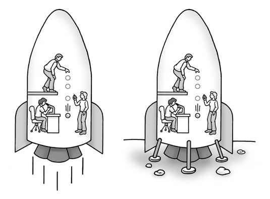 (Left) Scientists performing experiments in an accelerating spaceship. (Right) The scientists get t