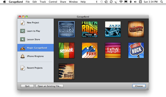 Select a genre for the Magic GarageBand.