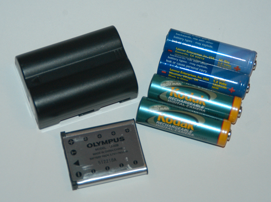 Power your digital camera with a NiMH rechargeable battery (left) or a Li-Ion one (right).