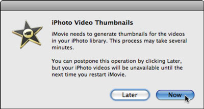iMovie gathers any video clips in iPhoto.