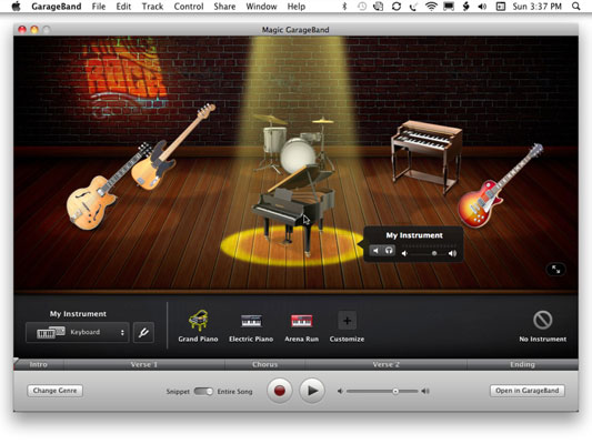 The stage is set for the Magic GarageBand and your instrument.