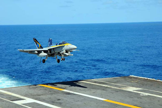 F/A 18 Hornet (U.S. Navy). [Credit: Photograph courtesy of www.navy.mil]