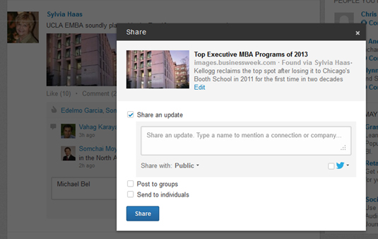 Share LinkedIn updates with your network or groups.