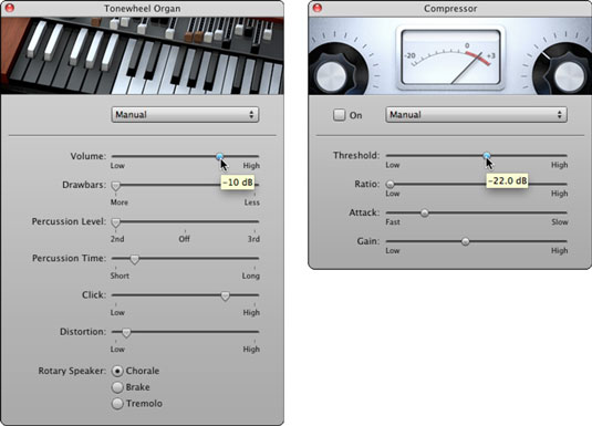 Adjust the Tonewheel Organ settings (left) and Compressor settings (right).