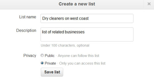 Creating a new user list in Twitter.