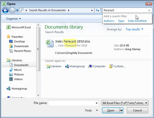 Use the Search Documents text box in the Open dialog box to quickly search for any Excel workbook o
