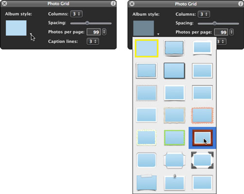 Specify a frame and other settings in the Photo Grid window.
