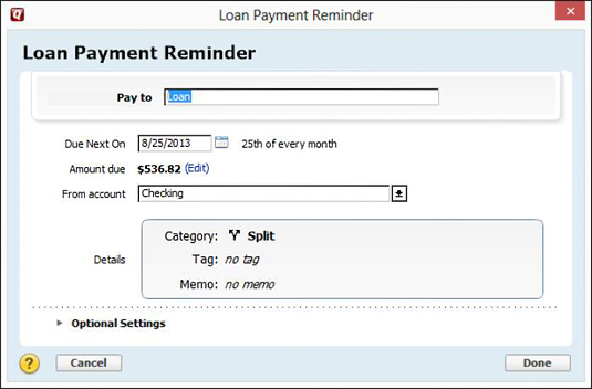 The Loan Payment Reminder dialog box.