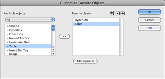 Customizing the Favorites category in the Insert panel.