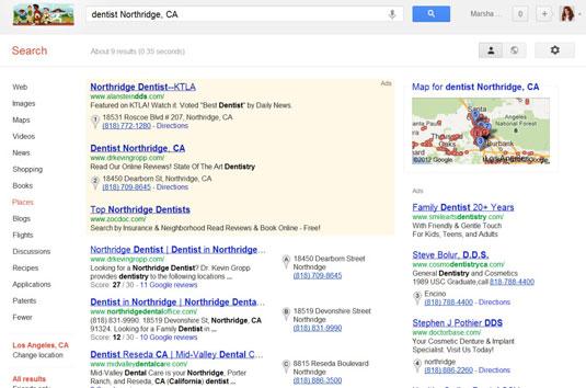 A Google search for a dentist in Northridge, CA.