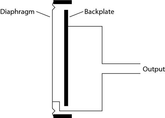 A condenser mic consists of a very thin diaphragm suspended parallel to a backplate.