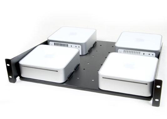 This tray holds four Mac minis in a standard network equipment rack.