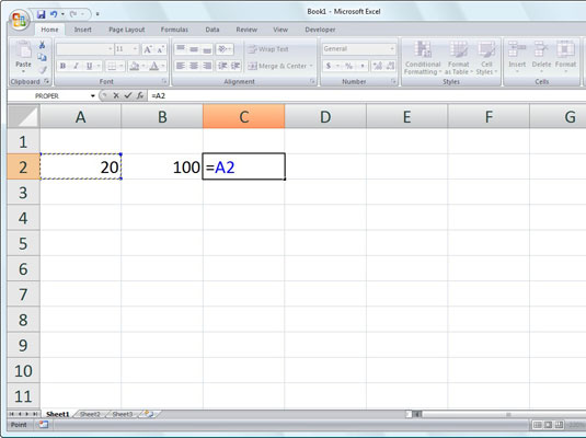 To start the formula, type = and then select cell A2.