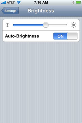 Slide this control to adjust screen brightness.