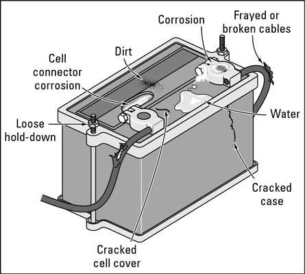 The parts of the battery to check.