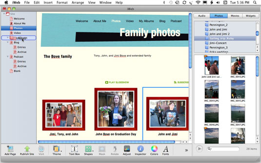 Drag the Photos page inside the My Albums page (which acts like a folder).