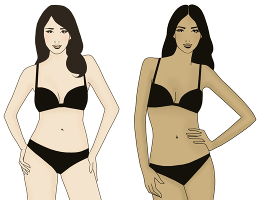 A short-waisted (left) and a long-waisted (right) woman.