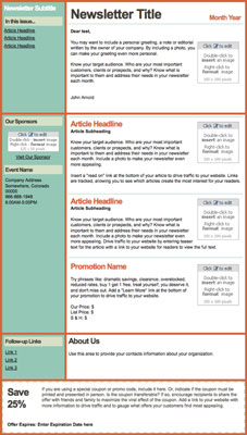 A newsletter template is best for informative content; columns are a good design choice. [Credit: C