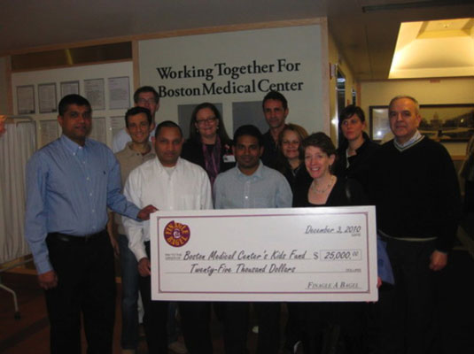 These managers from Boston's Finagle-A-Bagel visited the cause hospital and saw firsthand the