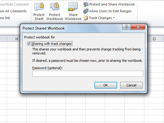 Protect a shared workbook so that users cannot remove Excel's tracking of changes.