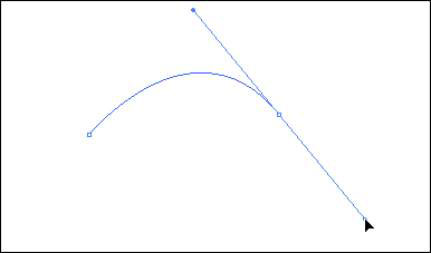 Click and drag with the Pen tool to create a curved path.