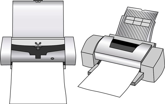 You can use a portable ink jet printer (left) or a desktop model (right).