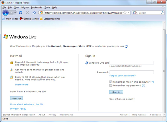 a Windows Live ID sign-in