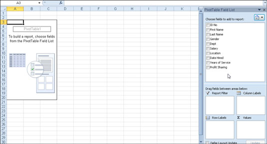 New pivot table displaying the blank table grid and the PivotTable Field List task pane.