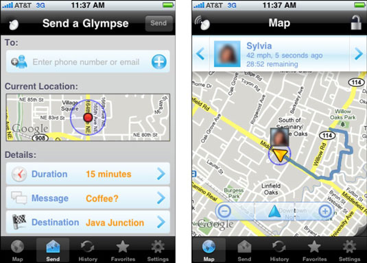 Sylvia can send a Glympse to any contact and that person knows her exact location for the specified