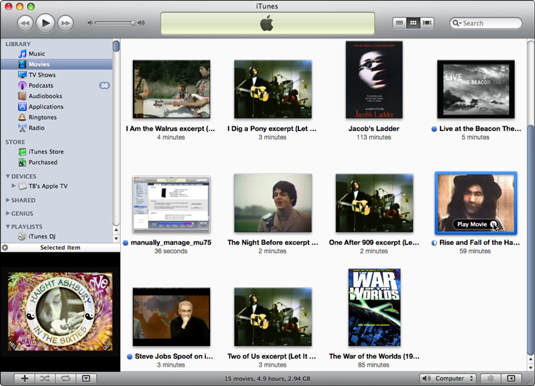 Browse and play movies in your iTunes library in Grid view.