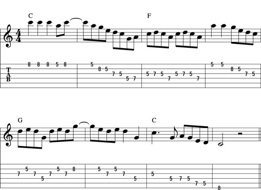 Solo in C major over a medium-tempo 4/4.