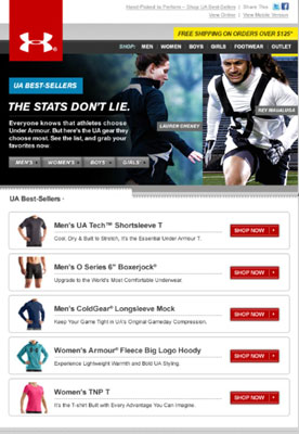 Visual anchors abound in this e-mail. [Credit: Used by permission from Under Armour]