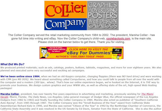 An early business website, circa 1996.