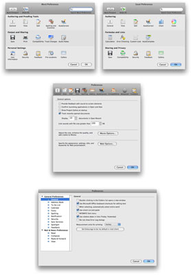 (Clockwise from upper left) The Word, Excel, Entourage, and PowerPoint Preferences dialogs.