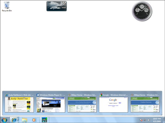 The new taskbar in Windows 7 offers pop-up thumbnail previews of every open window on your desktop.