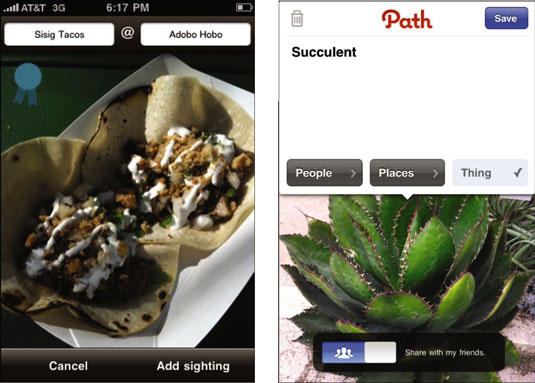 Path's straightforward interface allows the uploading of photos with simple tagging.