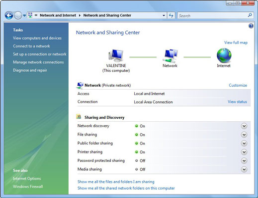 Use the Network and Sharing Center window.