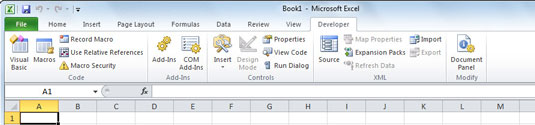 Display the Developer tab to work with macros in Excel 2010.