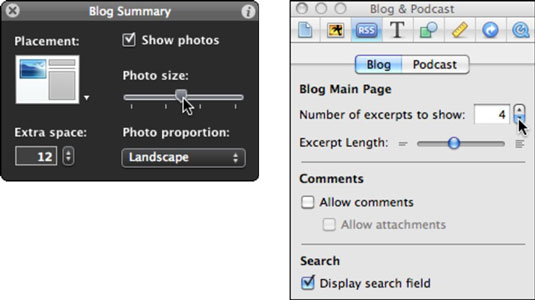 Change blog layout settings (left) and RSS settings (right).
