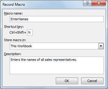 Use the Record Macro dialog box to begin creating a macro.