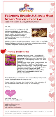 Small repeating icons enhance your e-mail design. [Credit: Courtesy of Great Harvest Bread Company]