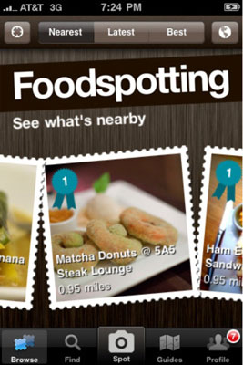 Foodspotting shows you foods that are close to you.