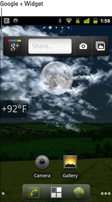 The Google+ widget on a Nexus 3 device (near top of screen).