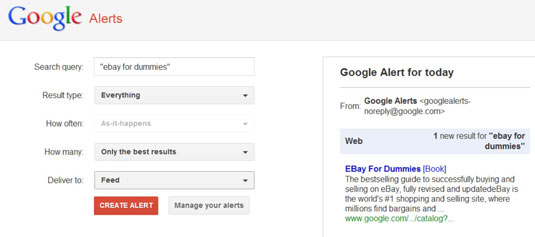 Setting up a Google alert.