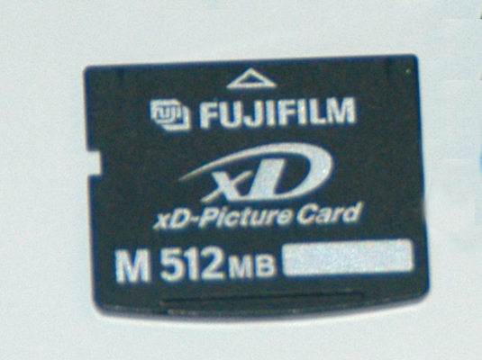 A digital camera memory card.