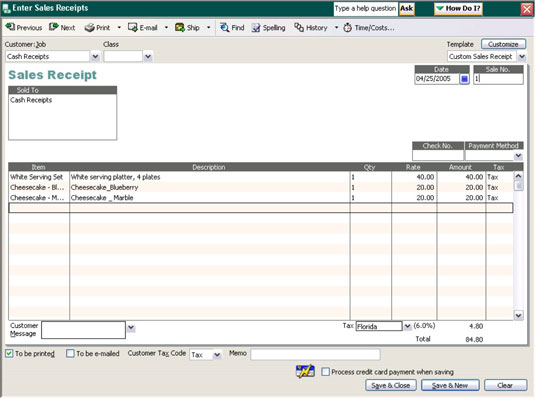 Example of a sales receipt in QuickBooks.