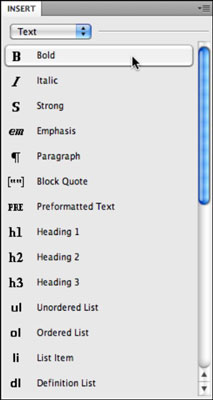 You can use the Text category of the Insert panel to apply basic text formatting.
