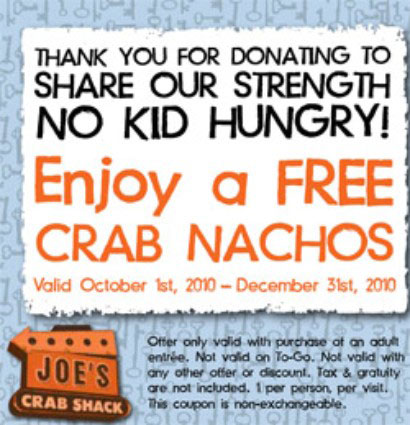 Joe's Crab Shack thanked donors with either key lime pie or crab nachos. Yum!