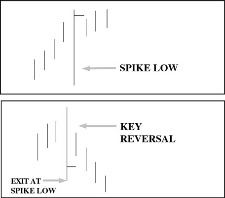 Two uncommon price bars, called <i>spikes.</i> A spike<i> </i>is a bar that encompasses a much bigg